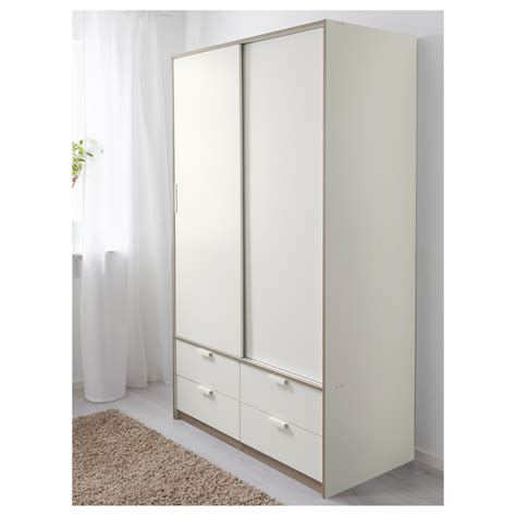 ikea wardrobe drawer trysil wardrobe w sliding doors 4 drawers white 118x61x202