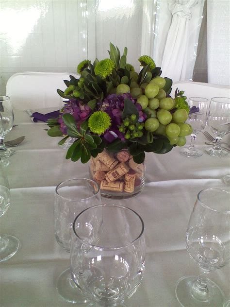 bridal shower table centerpieces cork filled centerpiece wine themed centerpiece wedding