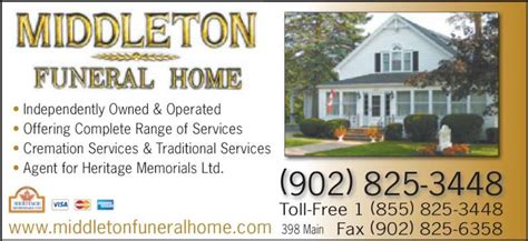 middleton funeral home ltd opening hours 398 st