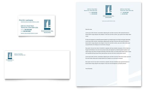 business letterhead templates indesign commercial developer business card letterhead template