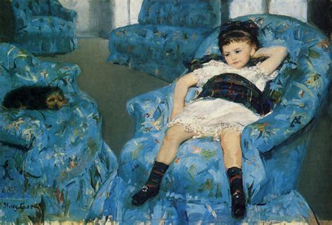 little girl in a blue armchair mary cassatt wikiart