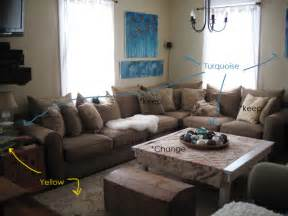 Turquoise and brown living room in the living room are