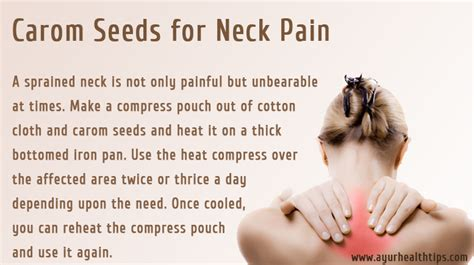 using compresses of carom seeds a sprained neck