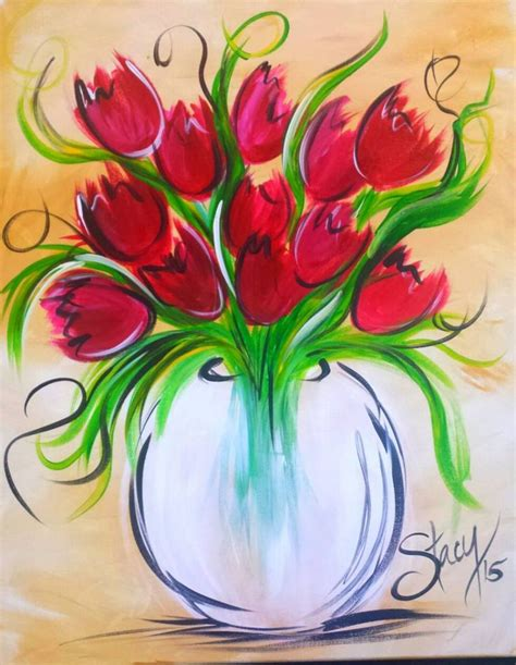 tulips painting ideas   tulip painting beginner