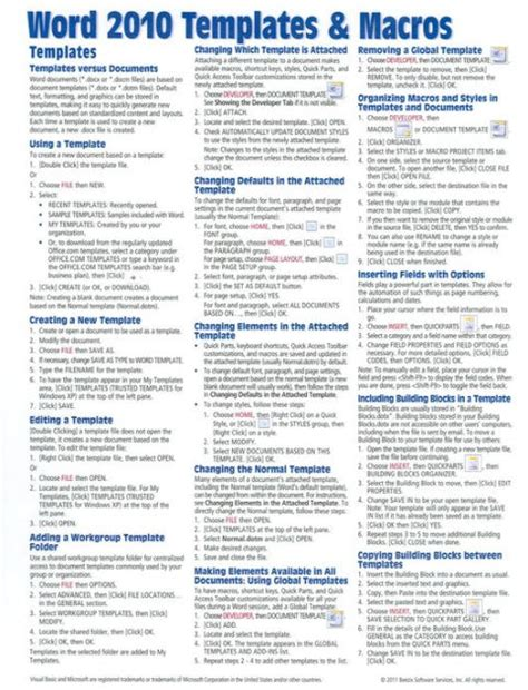 word templates for guides microsoft word 2010 templates macros quick reference