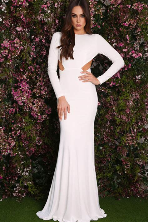 white long sleeve open  mermaid maxi dress  long