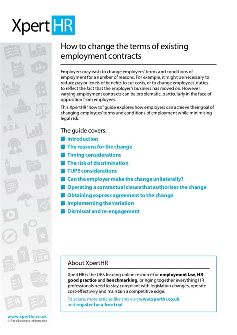 Letter To Amend Contract Of Employment How To Change The Terms Of Existing Employment Contracts