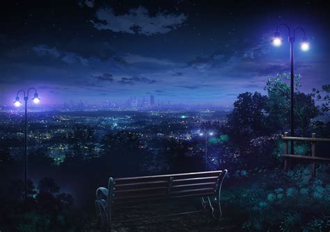 wallpaper anime night view of city at night full hd wallpaper and background