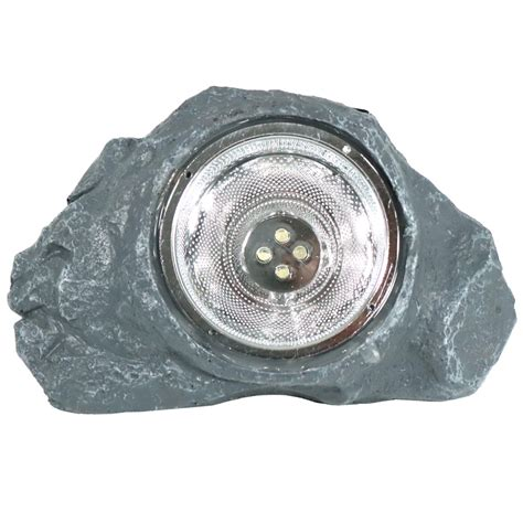 Solar Powered Outdoor Small Rock Garden Accent With White Small Solar Lights