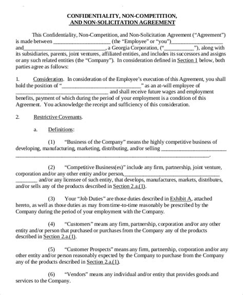 11 standard non compete agreement templates free sle