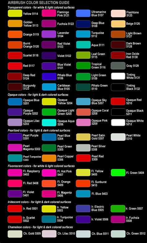 color list shirt sizes