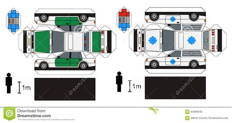Ambulance Paper Craft paper model of ambulance and cars stock vector