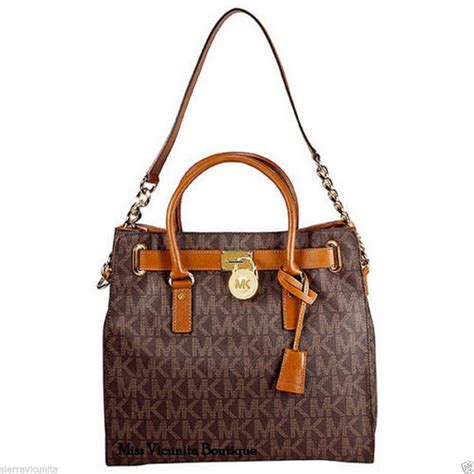 light brown mk purse nwt michael kors hamilton large logo ns tote brown pvc mk