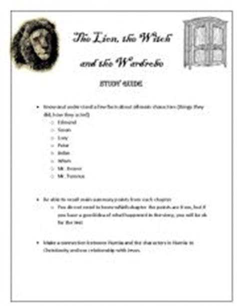The The Witch And The Wardrobe Test by Teaching Worksheets Tests And Exams