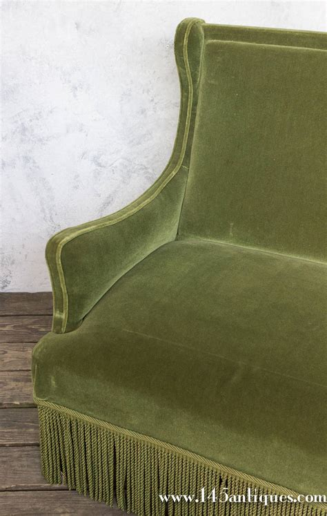 green velvet settee french 19th century green velvet settee for sale at 1stdibs