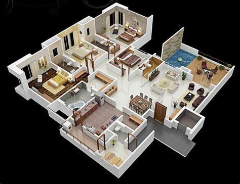 house plans 3d 4 bedroom apartment house plans
