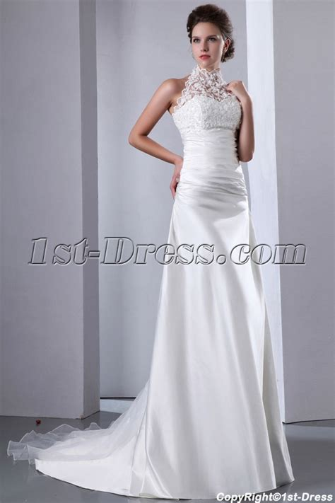 Graceful Lace Illusion High Neckline A line Wedding Dress