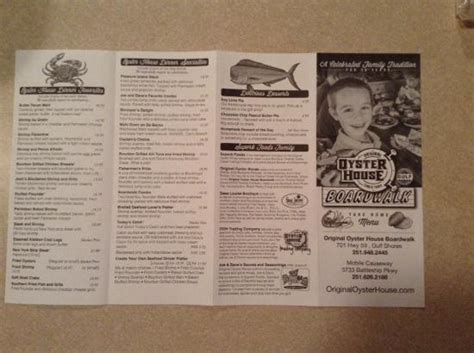 oyster house menu take home menu picture of original oyster house gulf