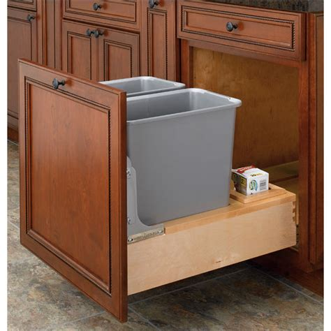 double garbage can cabinet rev a shelf bottom mount double waste bins with rev a