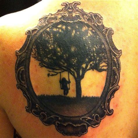 swing set tattoo tattoo silhouette wages frame blackbird girl swing