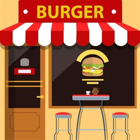 burger store facade design with food on window vectors