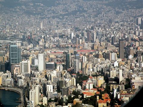Lebanon Beirut Beirut 01 View Of Downtown From Airplane Includes Platinum Tower Inn Al Amin Mosque