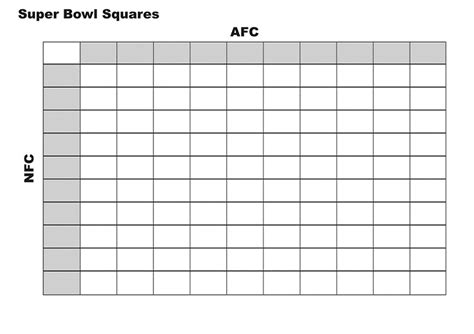 free football square template bowl pool template