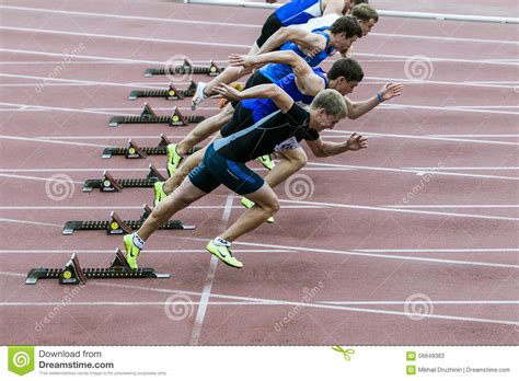 Sprint Plans sprint start in track and field editorial stock photo