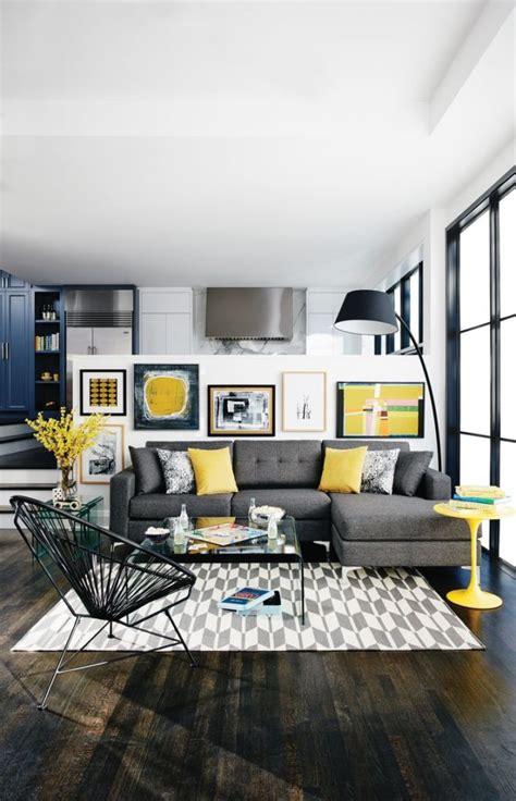 grey interior design  pops  yellow home decorating
