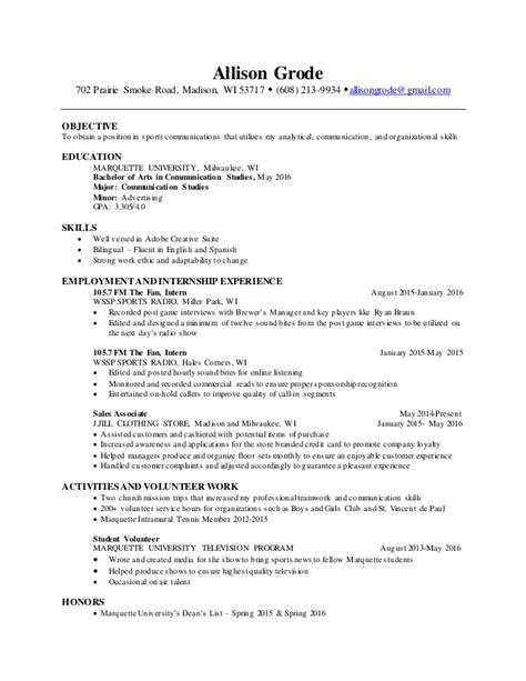 sports management resume objective exles sports communications resume
