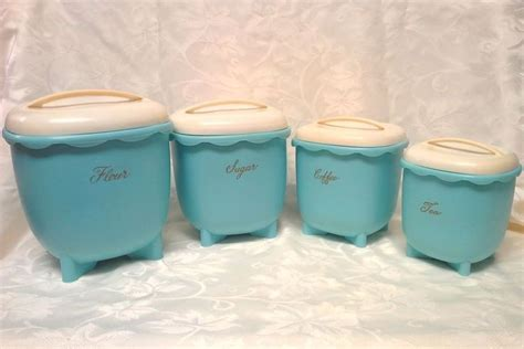 bristolite kitchen flour canister deco in red ivory vintage blisscraft of hollywood turquoise aqua canisters