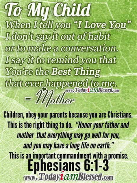 Bible Quotes About Loving Parents by Bible Verses Ephesians 6 1 3 Children Obey Your
