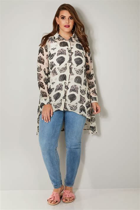 Print Chiffon Shirt white black cat print chiffon shirt with dipped hem