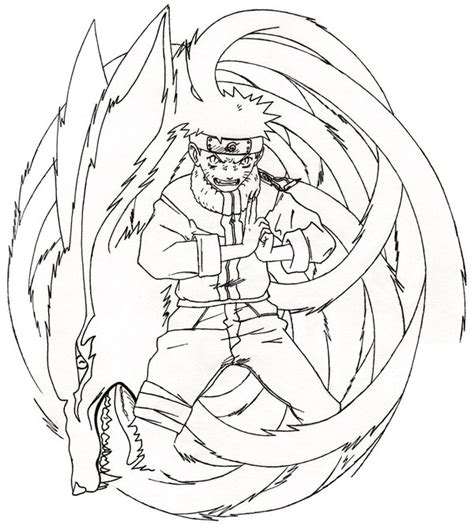 anime nine tail fox coloring pages