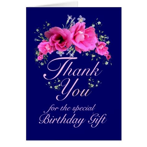 Gift Thank You Card - pink flowers thank you for birthday gift card zazzle