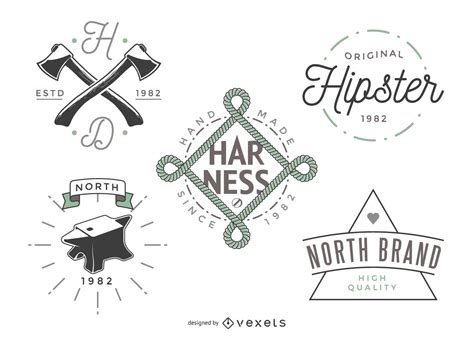 5 hipster logo templates vector download