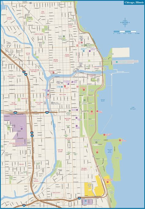 Pdf Chicago Is In What County by Chicago Downtown Map Digital Vector Creative
