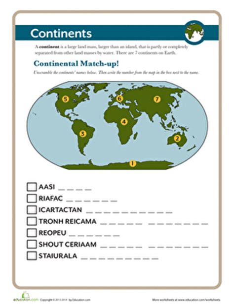 2nd Grade Continents And Oceans Worksheets by The Continents Worksheet Education