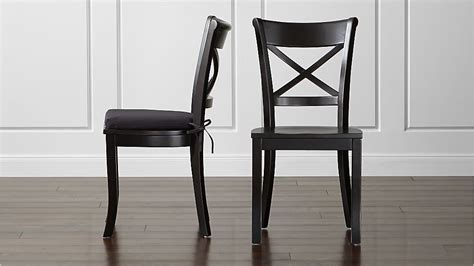 Black Wooden Dining Chairs - vintner black wood dining chair and cushion crate and barrel
