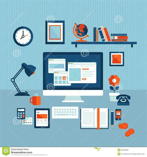 flat layout photography flat design concept of modern business workspace stock