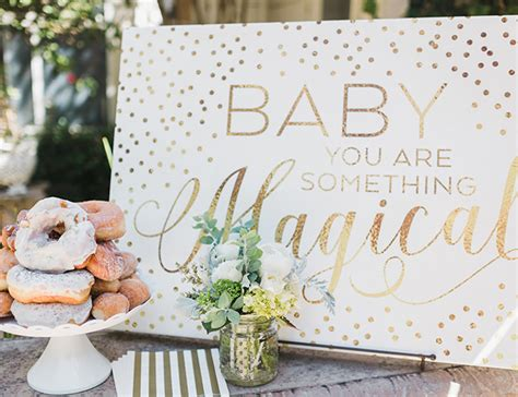glittering gold magical unicorn baby shower sprout san