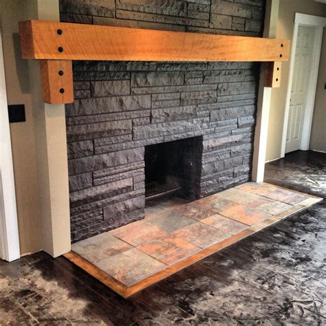 place solid wood mantle slate hearth ideas