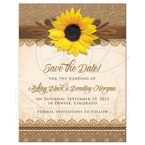 Western Kitchen Designs Wedding Save The Date Rustic Sunflower Burlap Lace Wood