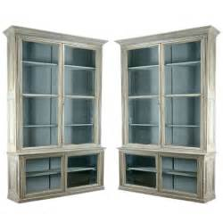 Glass Bookshelves Pair Of Antique Glass Door Bookcases At 1stdibs