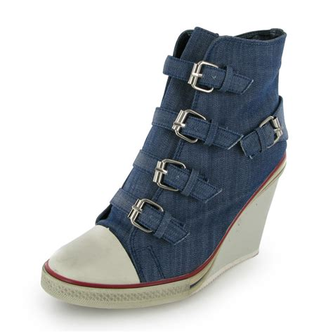 Boots Wedges Denim womens new blue denim wedge heel shoe boots size 3 8 uk ebay