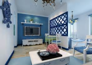 Blue theme mediterranean living room download 3d house