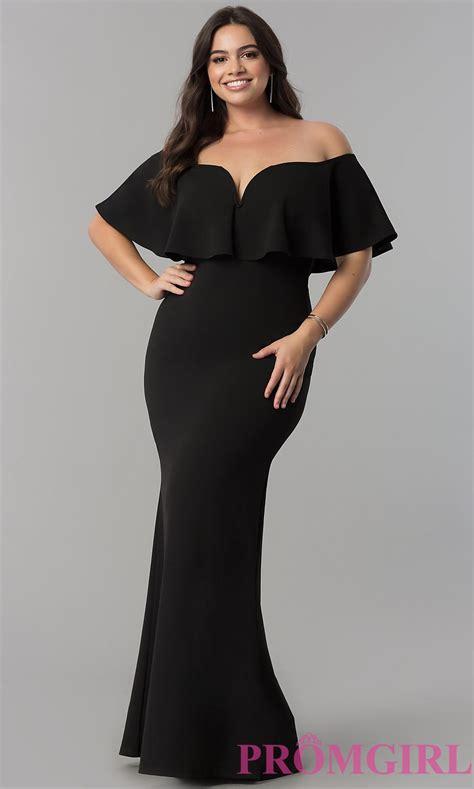 Plus Size Off Shoulder Formal V Neck Dress   PromGirl