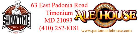 padonia ale house live trivia showtime trivia padonia ale house in timonium maryland main page