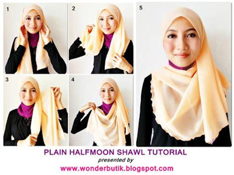 tutorial halfmoon qaira hijab wonderbutik malaysia online blogshop shawls bawal hijab