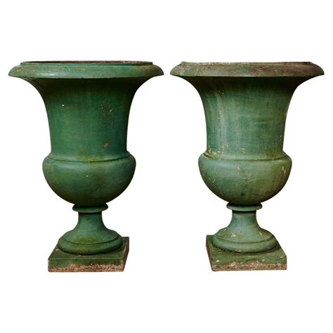 Cast Garden Planters by Pair Of Xixth Century Garden Planters In Painted Cast